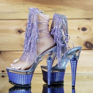 "Purple 7"" Heel fringe ankle boot size 8"